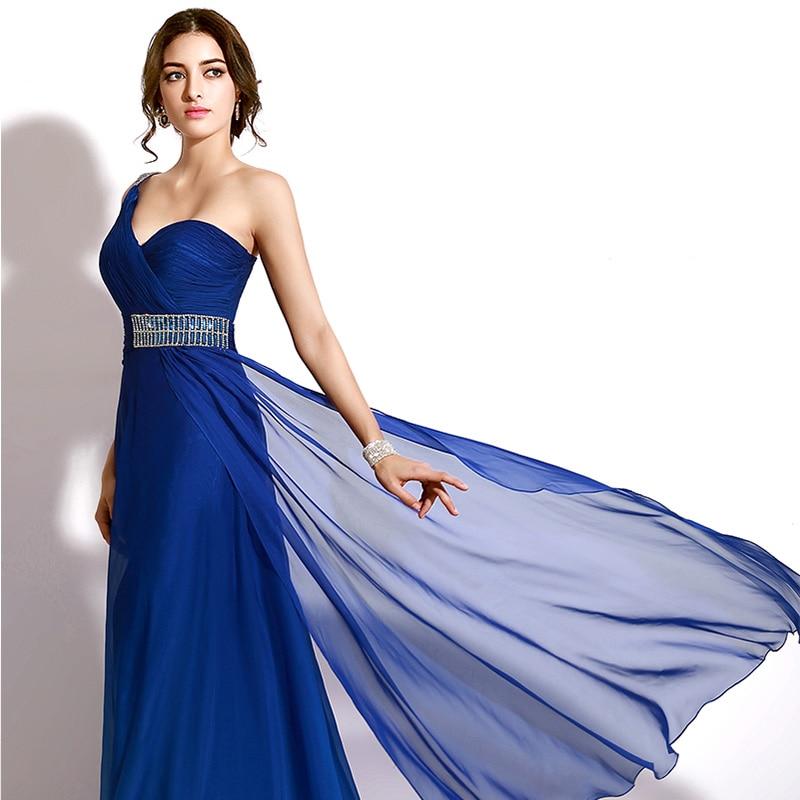 Sexy Cut Out Back Prom Kjoler En Shoulder A-Line Long Evening Dresses - Spesielle anledninger kjoler - Bilde 4