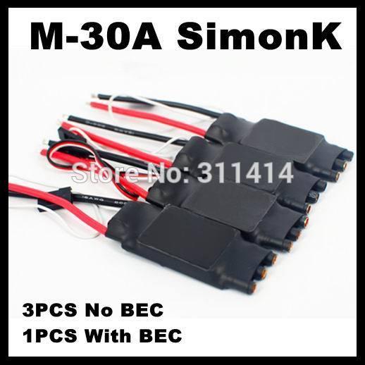 4 шт./лот M-30A 30A SimonK ESC (3 шт. без BEC line и 1 шт. с BEC) для радиоуправляемого квадрокоптера вертолета FPV 30A ESC