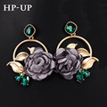 Yhpup 2016 New Arrivals Earrings Top Luxury Baroque Vintage Flower Green Gem Palace Earrings Wedding Party Brand Bride Earrings