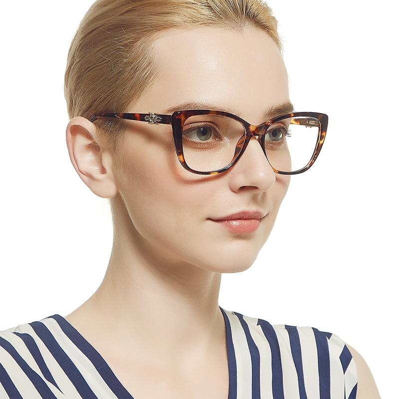 MARC Optical Frame Women Brand Designer Cat eye Female Vintage Leopard print Eyeglasses Clear classic Retro Blue Eyewear 92173 in Women 39 s Eyewear Frames from Apparel Accessories