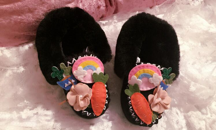 Ciel Une Plates Chaussures Enfant Poupée 1 En Pois Parent enfant La Fourrure Mignon Garçon Arc Grand 2 Radis TlK1JFc