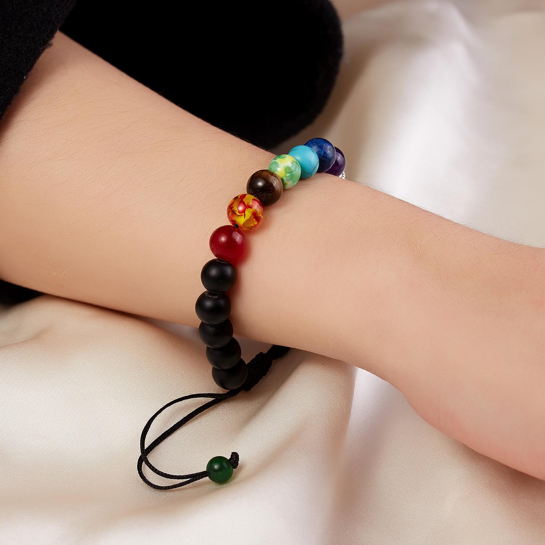 Classic Chakra 8mm Lava Stone Beads 7 Color Chain Bracelets for Women Men Elastic Rope Yoga Fashion A Bracelet Friendship 5