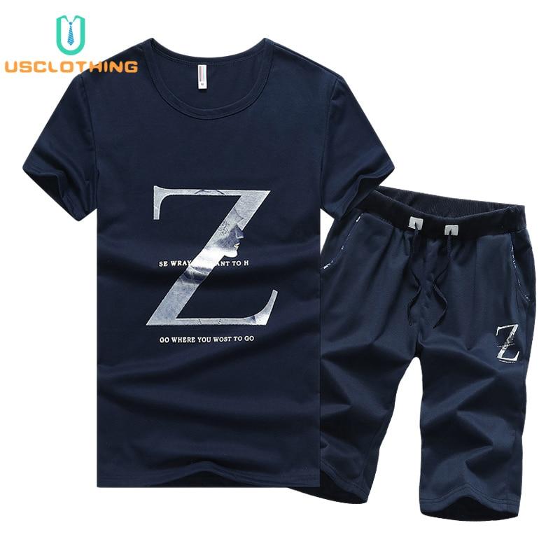 d96e28e35 2 piezas T camisa de los hombres de verano conjunto T camisas + Pantalones  cortos traje conjunto de ropa deportiva de los hombres ropa de hombres ...