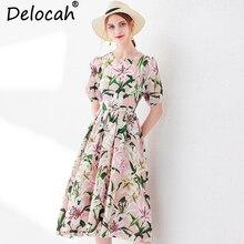 Delocah New Women Summer Casual Midi Dress Runway Fashion Lantern Sleeve Floral Printed Beading Elegant Sweet Ball Gown Dresses