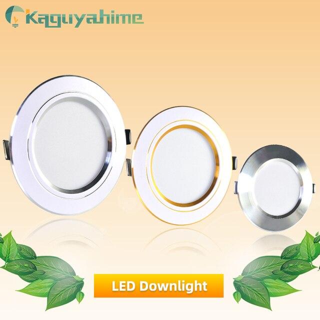 Kaguyahime LED Downlight 220V 240V LED Tavan Lambası 18W 15W 12W 9W 5W 3W Altın/Gümüş/Beyaz Yuvarlak Gömme Işık LED Spot
