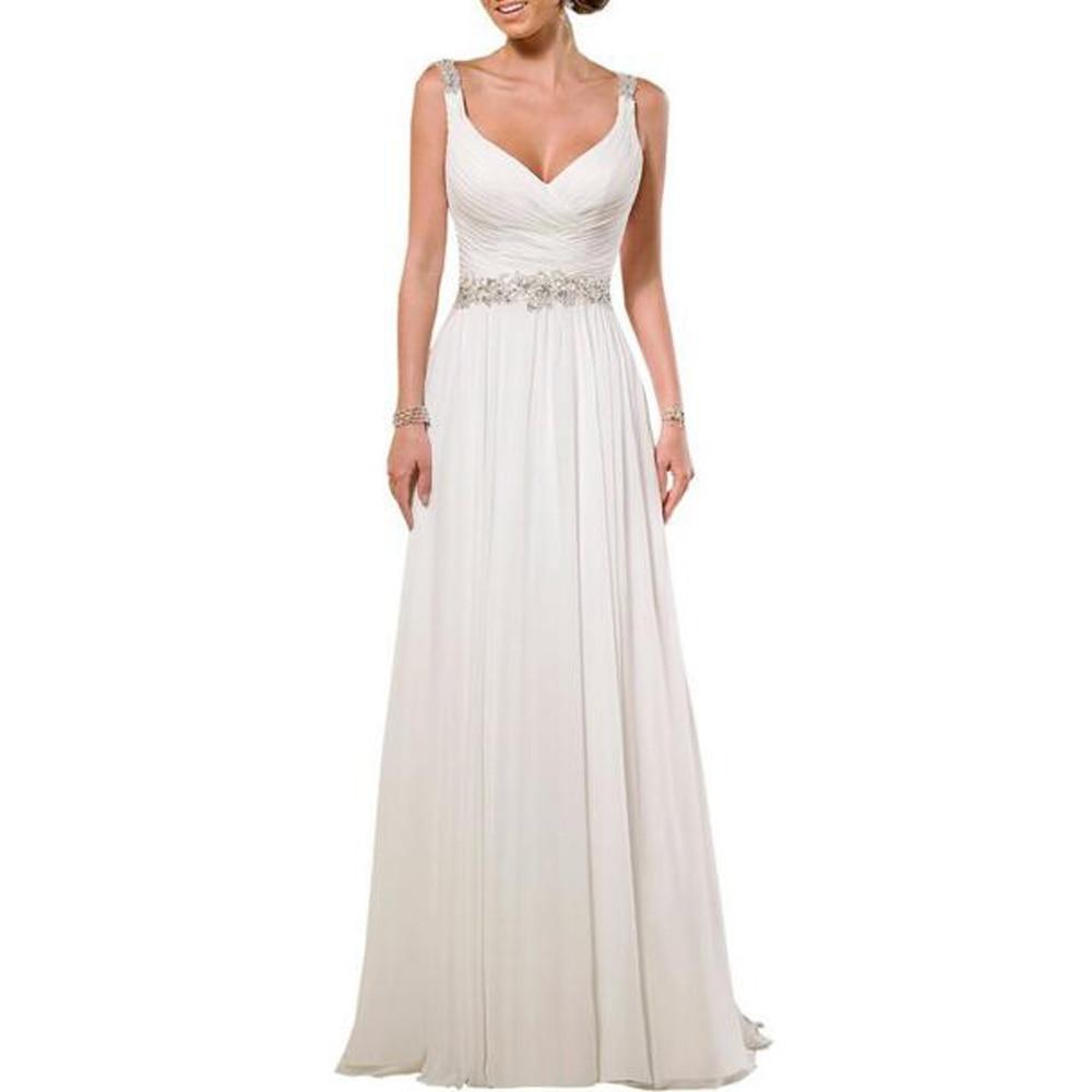 Ruching Wedding Gowns: Robe De Mariage V Neck Shoulder Straps Soft Ruching