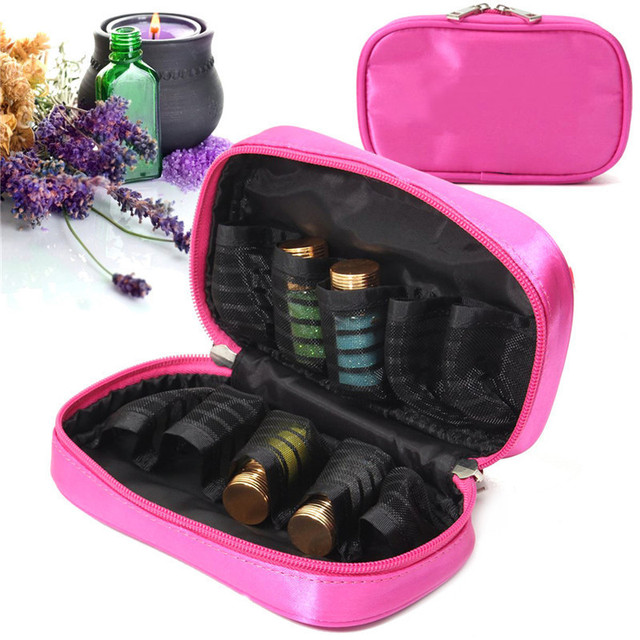 10 Grids Essential Oils Storage Bag For Traveling Double Zipper Oil Carrying Case Cosmetic Bags