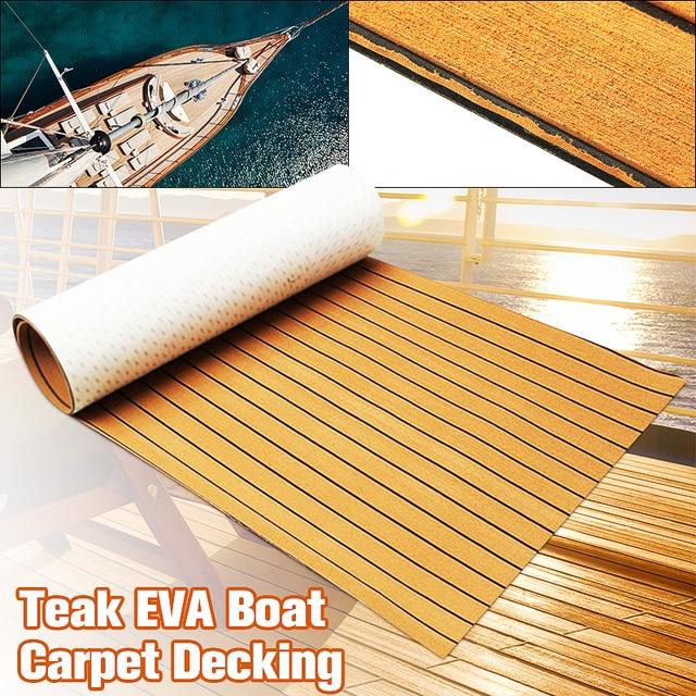 1PC 900x2400x6mm Self-Adhesive Gold With Black Lines Marine Flooring Faux Teak EVA