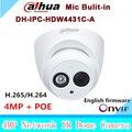 2016 new arrival ipc-hdw4431c-a 4mp full hd ir rede mini câmera dahua poe embutido mic cctv dome de rede dh-ipc-hdw4431c-a