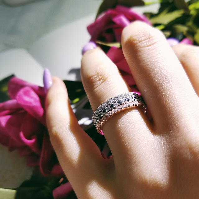 Moonso 2019 fashion Silver eternity Band Ring Wedding Engagement smallesFinger for Women tail nail Ring Band wholesale R1090A