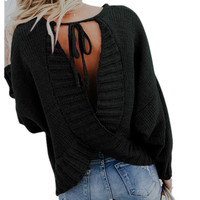 Sexy Backless Knitted sweater women Pullover Autumn Winter Sweater Women 2018 o neck Top Warm Hollow Out Jumper pull femme hiver
