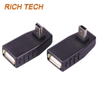 Wholesale 200 Pcs 90 Degree Elbow USB MINI 5PIN Plug TO USB Female Extand Connector High