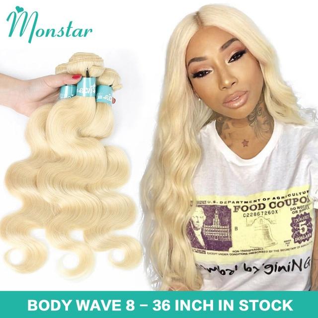 Monstar 1/3/4 613 בלונד שיער הרחבות ברזילאי שיער Weave חבילות גוף גל רמי שיער טבעי 22 24 26 28 30 32 34 36 אינץ