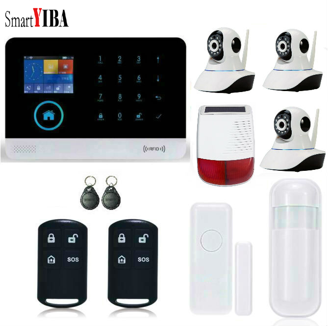 SmartYIBA RFID Wireless Home Security Alarm WIFI APP Control Outdoor Solar Powered Siren+Security Camera+Door/Motion Alarm Kits все цены