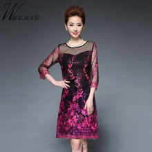 The spring of 2017 high-end women s 3D Embroidery mesh dress new lace  hollow sequins fdcbaf020745