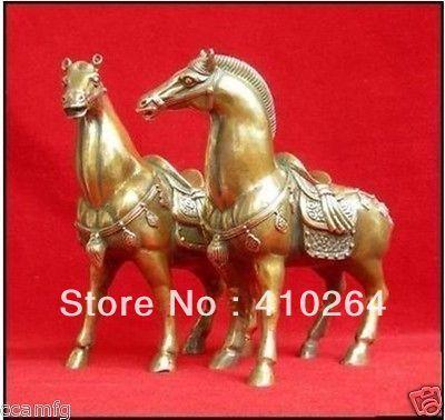 [Belle remise] expédition rapide une paire de chevaux en laiton bronze chinois Statue figurine 6.4