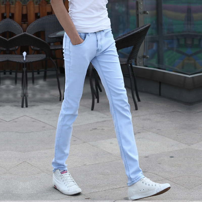 2018 New Stretch Sky Blue Mens Jeans 28 29 30 31 32 33 34 36 Fashion Business Casual Man Trousers Slim Comfortable Men Pants