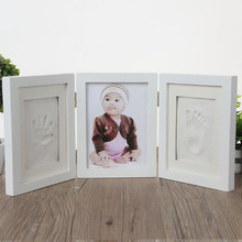Newborns Photo Frame Baby Molds Handprint Footprint 3D DIY Soft Clay Inkpad Kids Exquisite Souvenirs Casting Home Decoration(China)