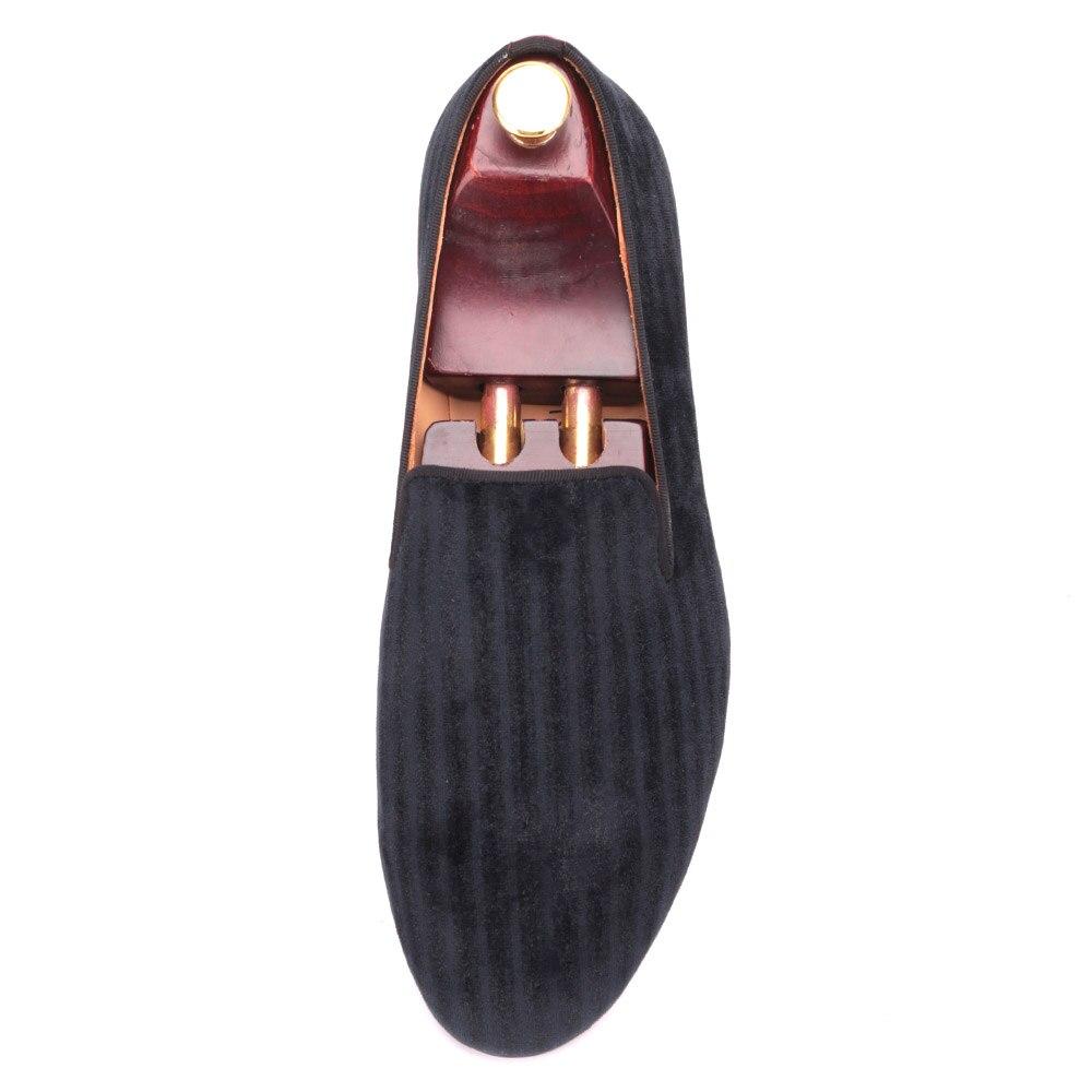 Hombres De Guinga Terciopelo 2016 Moda Y A Negro Hecha Los Zapatos Vestido Desfile Mano Fiesta Plantilla Hombre Cuero Pisos Suela xt77Xw