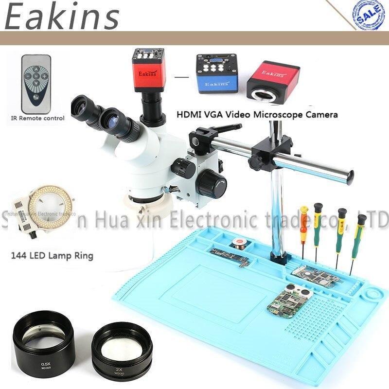 3.5-90X Zoom Continu Simul-Focal Trinoculaire Stéréo Microscope 14MP Microscope Caméra 144 lumière Pour la Réparation Mobile Téléphone outils