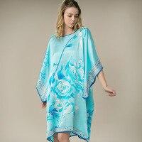 100 Silk Satin Dress Women Silk Dresses Natural Silk Free Size Handmade Painted Dress Light Blue