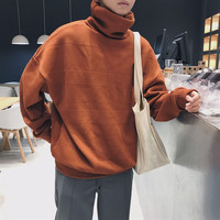 Мужская водолазка 2018 зима новый узор сплошной цвет негабаритный свитер Свободный стиль мужской свитер черный коричневый