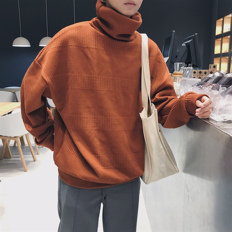 Turtleneck Solid Color Oversized Sweater Men