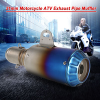 Motorcycle scooter exhaust muffle pipe 51mm Stainless Frosting Noise Reduction Refit scooter muffler exhaust for motorcycle ATVs