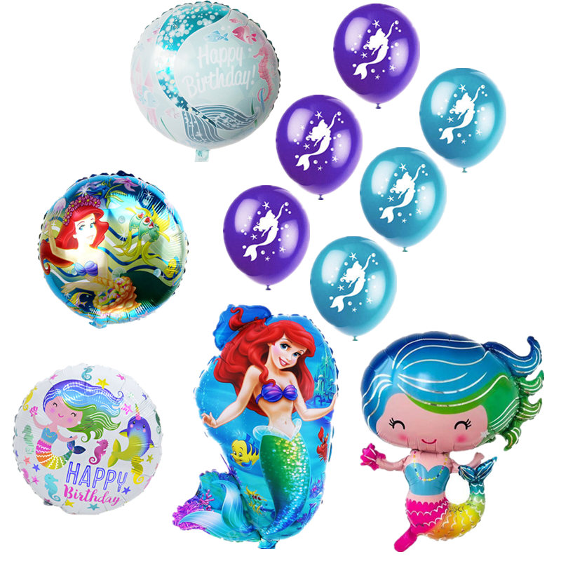 Lovely Little Mermaid Foil Balloon Mermaid Printed Latex Balloons Princess Birthday Party Baby Shower Decoration Air Balloons