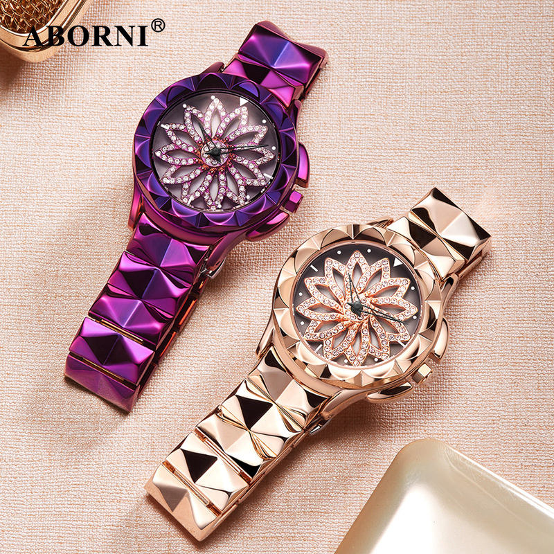 Aborni 2018 Women Rhinestone Watches Lady Rotation Clock Dress Watch Stainless Steel Wrist Watch Relojes Diamond Montre Femme hello kitty clock women dress watch hello kitty cartoon watches stainless steel watch women rhinestone watches kids