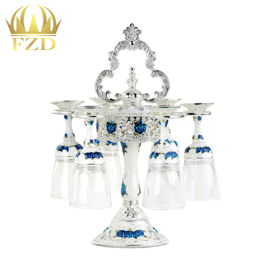 6 pièces Tasse En Acier Inoxydable Métal Résine Support En Verre Argent/bleu De Mode Porte-Gobelet Casier à Vin Unique pour le Mariage partie