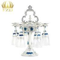 6 stuks Cup Rvs Metalen Hars Beugel Glas Zilver/blauw Mode Bekerhouder Enkele Wijnrek voor Bruiloft Party