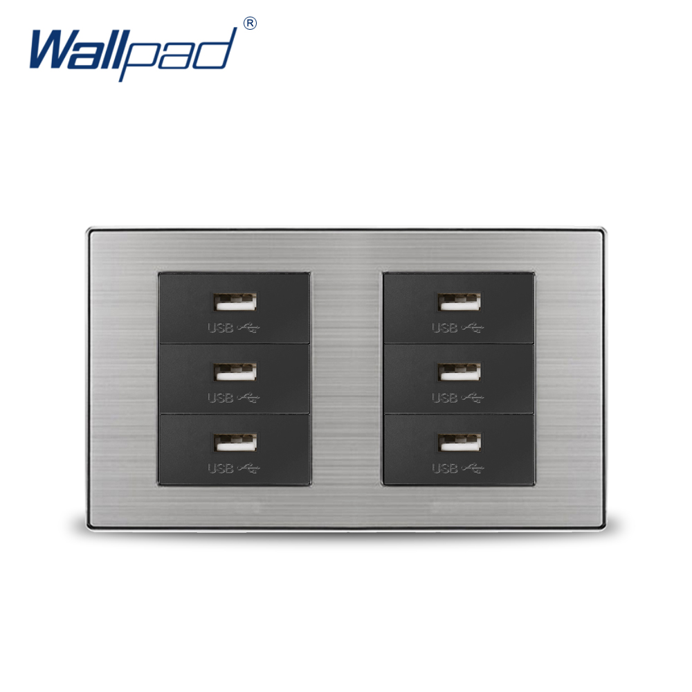 2018 Wallpad 6 USB Charge Port For Mobile 5V 1000mA Wall Power Charger Satin Metal Panel Double Frame 60w magsafe 2 car charger with usb port for apple macbook