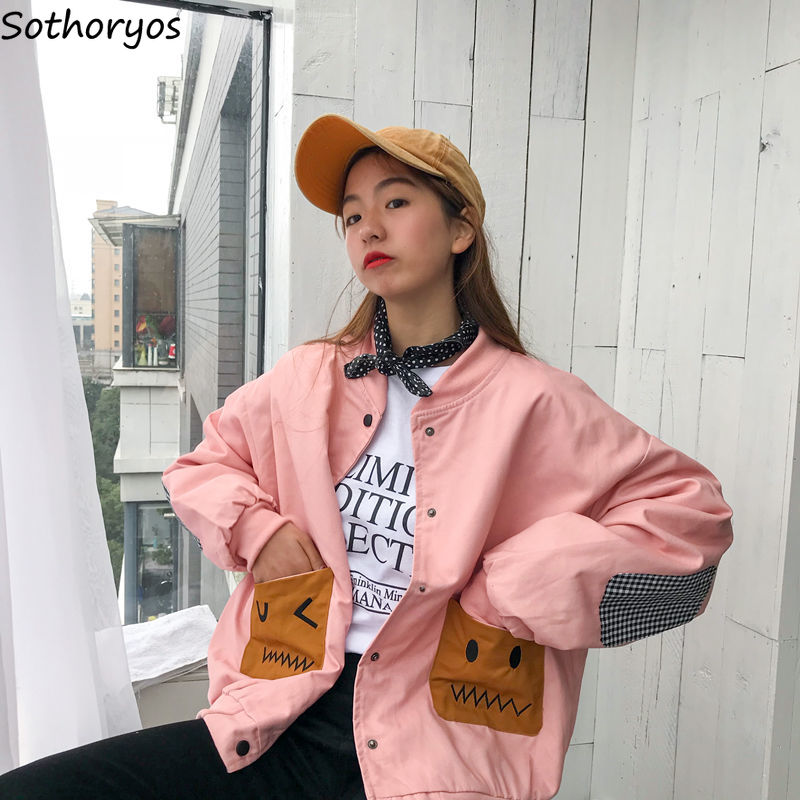 Basic     Jackets   Women Long Sleeve Single Breasted Loose Trendy Pockets Womens   Jackets   Korean Style Leisure Chic All-match Students
