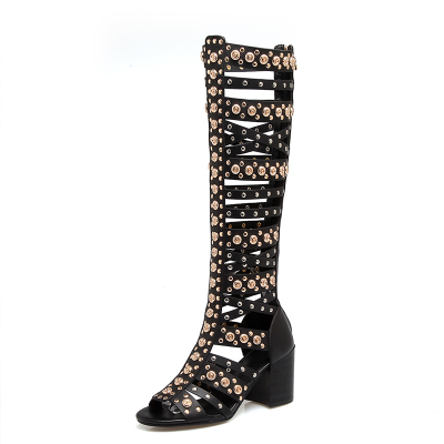 купить 2018 New Black Metal Sequined Summer Sandals Gladiator Knee High/Ankle Sandal Boots Shoes Women в интернет-магазине