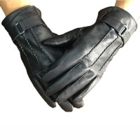 Man Fleece Warm Black Hand Gloves For Men Winter Driving Gloves Brand Italy Goatskin Genuine Leather Gloves Motorcycle Mittens