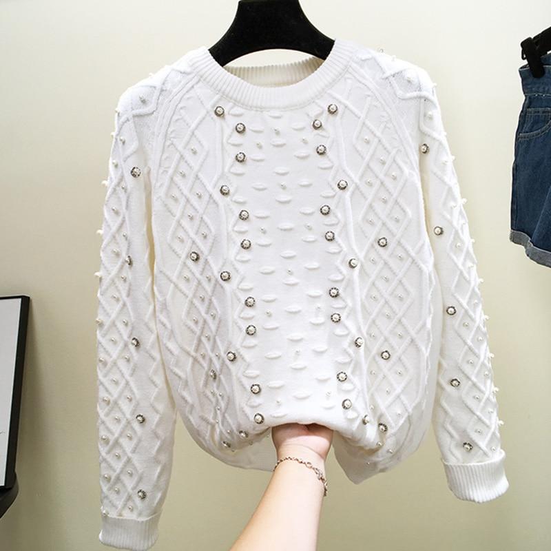 L'industrie Lourde européenne Clou-perle Rhombique À Carreaux Chemise Tricotée Nouvelle Lâche Bas Top pour Femmes Automne et Hiver pull