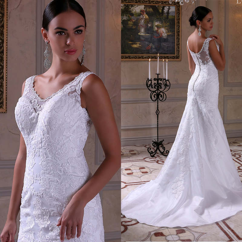 South Africa Sheer Back Luxury Mermaid Wedding Dress Tank Straps Scoop Bridal Gown Vestido De Noiva Sereia LBB10 In Dresses From