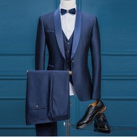 Elegant Wedding Suits for Men Groom Tuxedos Groomsman Suits 3 Pcs (Jacket+Vest+Pants) Shawl Collar Skinny Blazer Men Stage Dress