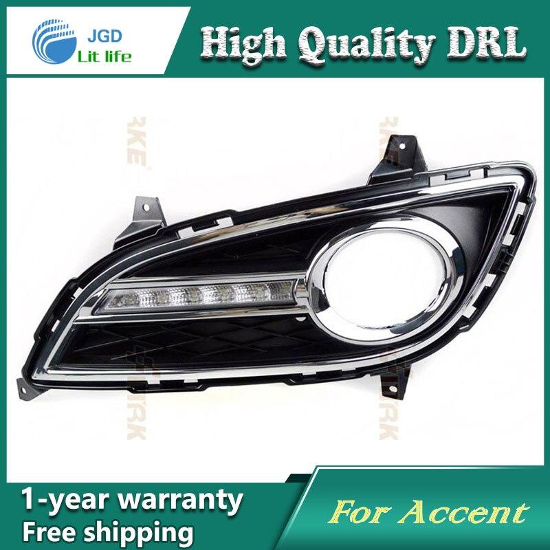 Free shipping !12V 6000k LED DRL Daytime running light case for Hyundai Elantra 2011 fog lamp frame Fog light Car styling
