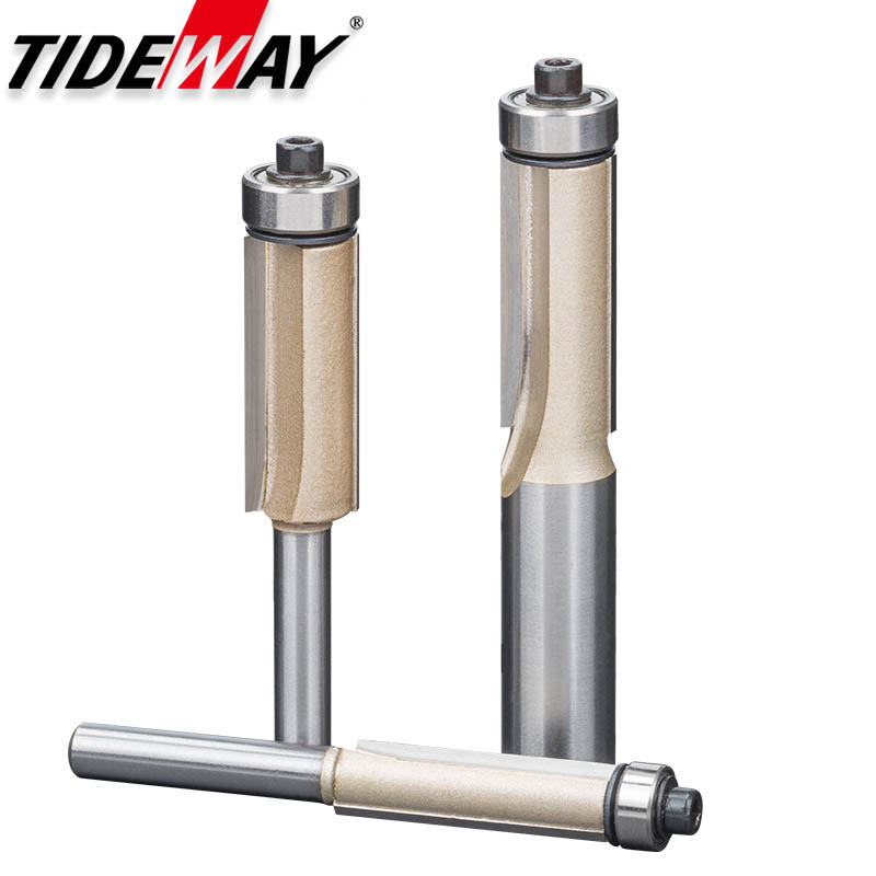 Tideway Flush Trim Router Bits For Wood 1/2 1/4 Shank Woodworking Tools Trimming Cutters With Bearing Endmill Milling Cutter