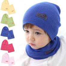Baby Winter Caps + Scarf Suits Casual Crochet Child Hat Warm Knitted Kids Hats For Unisex Solid Wool newborn photography props