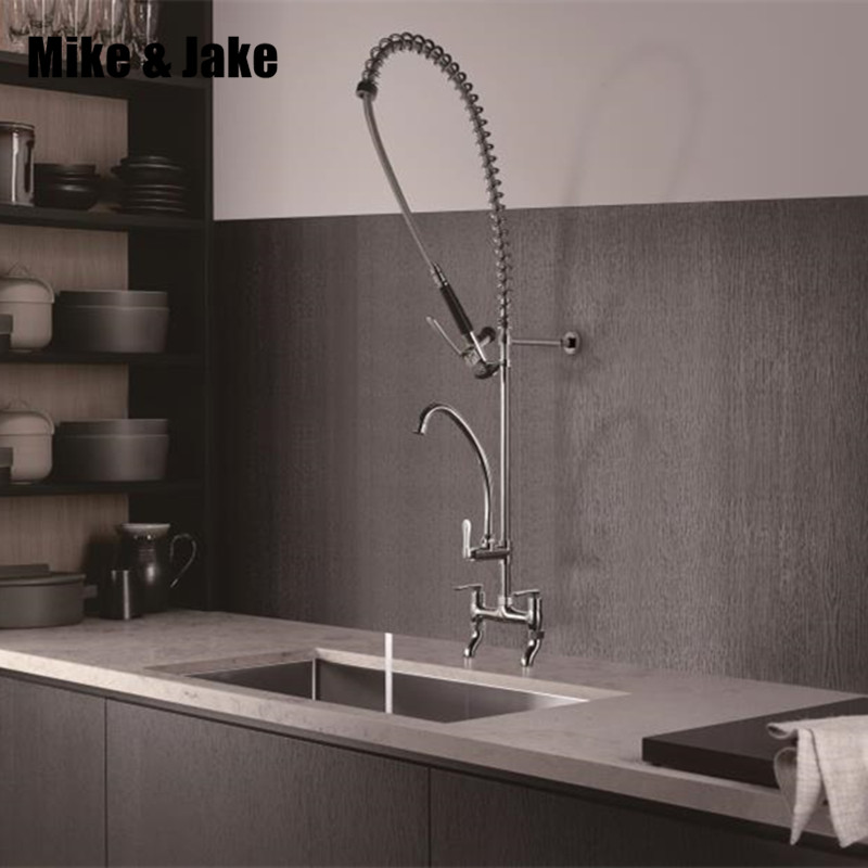 Pull Down Chrome Commercial Kitchen Faucet Industrial Kitchen Faucets Big Kitchen Tap Hot And Cold Mixer Commercial Sink Tap