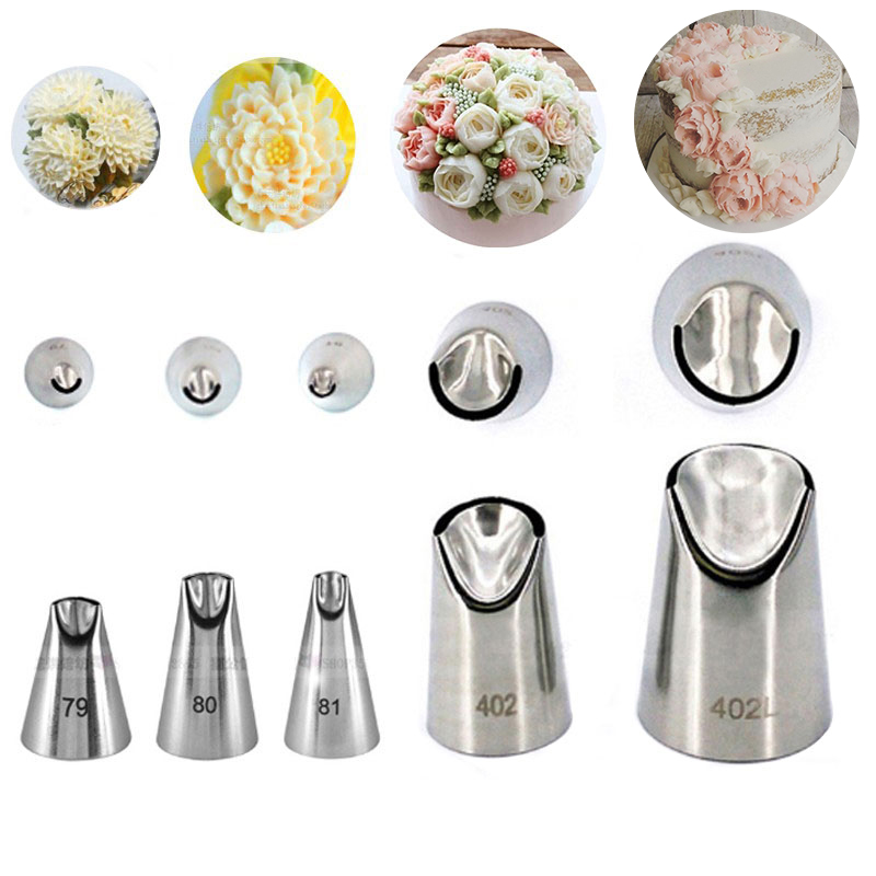 5pcs Petal Stainless Steel Piping Icing Nozzle Set Metal Cream Tips Cake Cream Decorating Pastry Tool