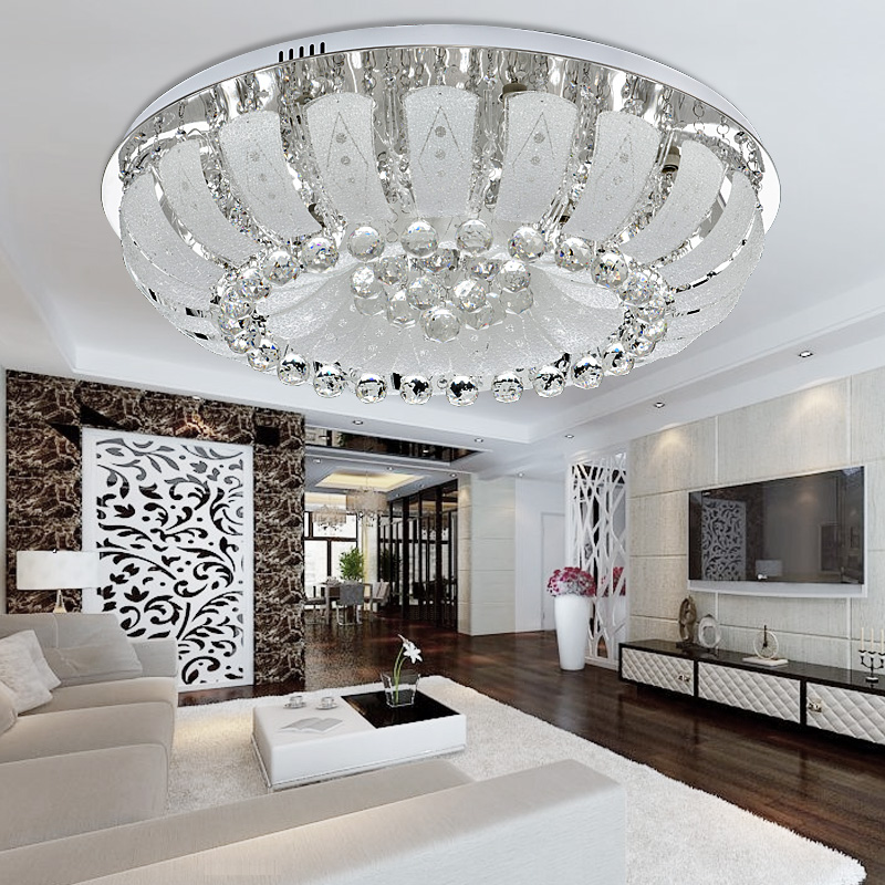 Light Filled Contemporary Living Rooms: Round LED Crystal Ceiling Lights Simple Modern Living Room