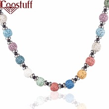 Beautiful Round Green Lava Stone Beads Hemp Rope Long Necklaces Jewelry For Women Nature Necklace