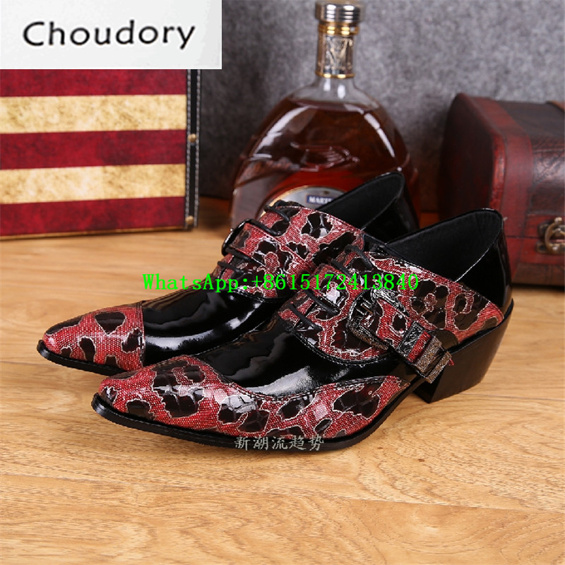 Choudory Height Increasing Hasp Mixed Colors Men Casual Shoes Pointed Toe Leopard Platform Snakeskin Party High Heels Shoes Men