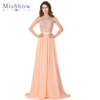 2017 Elegant New Arrival Lace Bodice Coral Chiffon Sexy See Through Back Long Prom Dresses