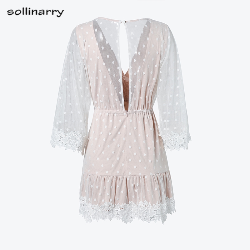 Sollinarry V Neck Dot White Mesh Lace Dress Summer Women Sexy Party Short Dresses Causal Backless Flare Sleeve Dress Vestidos