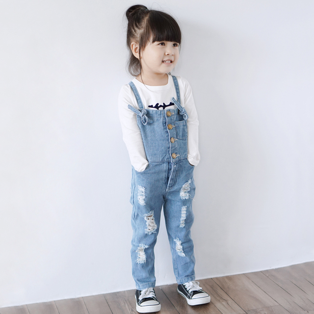 5efaf5525604 2018 New Arrival Girls Denim Overalls High Quality Kids Overall Jeans  Spring   Autumn Children Trousers Jumpsuit 2-10T Bib Pants
